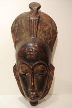 Baule Tribe Portrait Mask Of A Female w/ a comb Cote d'Ivoire African