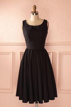 Zita - Black vintage inspired midi dress
