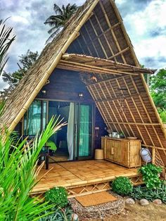 Seaview A-frame Eco Bamboo Bungalow. Bamboo House Design, Tropical House Design, Tiny House Design, Tropical Houses, Cottage Design, Hut House, Tiny House Cabin, Bungalow, Bamboo Building