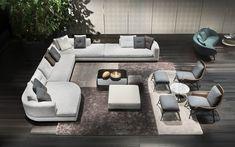 "2018 Collection. Alexander seating sysetm, Rodolfo Dordoni design.; Prince ""Cord"" Indoor armchair, Rodolfo Dordoni design. #minotti70 #salonedelmobile #2018collection #rodolfodordoni"