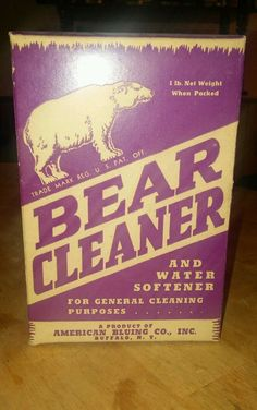 Vintage Bear Cleaner EMPTY 1lb Box  - Shop Display - American Bluing Co. Buffalo