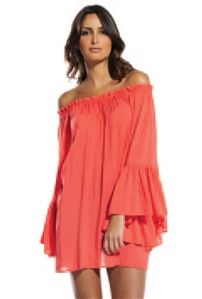 454135e80f42d Elan International Off-The-Shoulder Ruffle Top in Coral Fatale