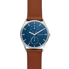 Skagen Holst Brown Leather Multifunction - Brown N/A Skagen Watches, Big Watches, Best Watches For Men, Cool Watches, Wrist Watches, Brown Leather Strap Watch, Tan Leather, Emporio Armani, Outer Shoes