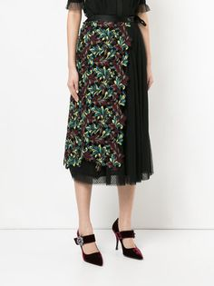 Antonio Marras pleated skirt with embroidered floral panel Shop For Cheap Price Clearance Footlocker Finishline Exclusive BdVAL9