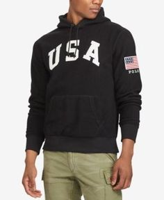 Men'S Graphic-Print Fleece Hoodie, Black. Fleece HoodieHooded  SweatshirtsPolo Ralph LaurenGraphic ...