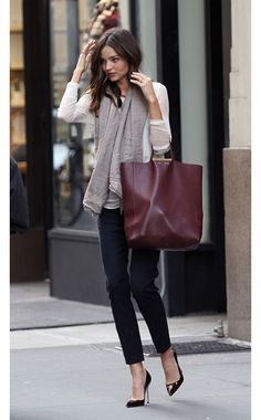 Miranda Kerr - 3.1 Phillip Lim top, Manolo Blahnik shoes, Céline bag