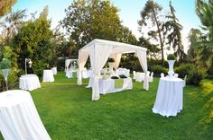 Wedding set up in the huge garden of Villa La Limonaia. Amazing that Sicily has 300 days of sun a year!! | www.villalalimonaia.it | #villalalimonaia