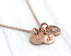 Rose Gold Monogram Personalized Necklace / Three Initials Hand Stamped Coin Discs / 24K Rose Gold Vermeil and 14K Rose Gold Filled