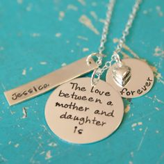 Personalized- Love Between a Mother and Daughter Necklace. Perfect for Mother's Day