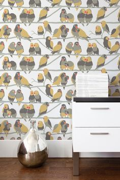 Aimee Wilder draws her inspiration from contemporary graphic art and the design world. If you are looking for an Aimee Wilder Wallpaper that is not here call us and we will source it for you. Paradise Wallpaper, Bird Wallpaper, Unique Wallpaper, Pattern Wallpaper, Wallpaper Gallery, Nursery Wallpaper, Creation Art, Design Repeats, Burke Decor