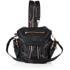 Alexander Wang Marti Mini Convertible Leather Backpack ($995) ❤ liked on Polyvore featuring bags, backpacks, black, day pack backpack, leather convertible backpack, leather knapsack, strap backpack and alexander wang