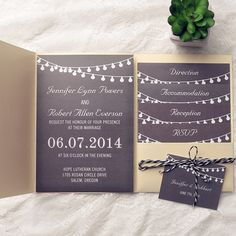 exquisite gold pocket chalkboard string lights wedding invitations EWPI136 as low as $1.69