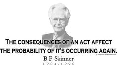 "ThinkerShirts.com presents B.F. Skinner and his famous quote ""The consequences of an act affect the probability of it's occurring again."" Available in men, women and youth sizes."