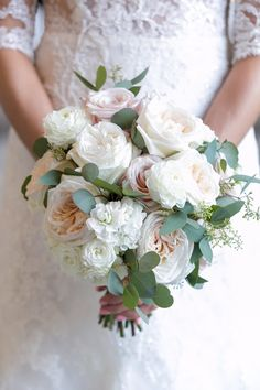 Bouquet of blush garden roses, white ranunculus, white roses, eucalyptus. Photo by Lightly Photography | Fleurs de France| Wedding Flowers in Dallas |Dallas Florist