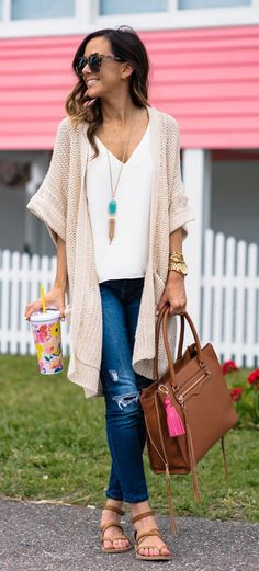 #spring #outfits Blush Cardigan & White Top & Ripped Skinny Jeans