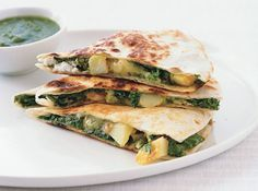 Potato, Greens, and Goat Cheese Quesadillas from Epicurious.com #myplate #veggies