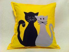 Happy Pillow- InLove Cats- handmade pillow  35x35 cm  Order at: happy_pillows@yahoo.com