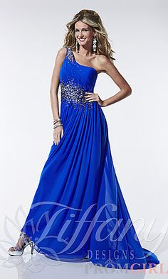 Tiffany 16790  $320.00Full Length One Shoulder Formal Gown at PromGirl.com