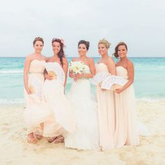 Beach Wedding - Destination Wedding Playa Del Carmen - Bridemaids in peach dresses - beach hotel - All inclusive