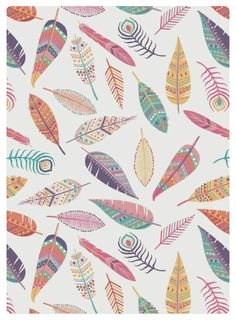 Feather Pattern by Emily Kiddy. Surface Pattern Design, Pattern Art, Cute Wallpapers, Wallpaper Backgrounds, Phone Wallpapers, Phone Backgrounds, Textures Patterns, Print Patterns, Papier Paint