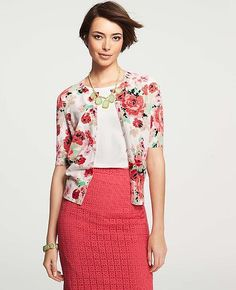 25 Seriously Chic Mother's Day Gifts, All Under $100: Ann Taylor's Floral-Print Crewneck Cardigan