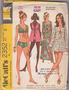 McCall's 2352 Vintage 1970 swimsuit & cover up sewing pattern, MOMSPatterns
