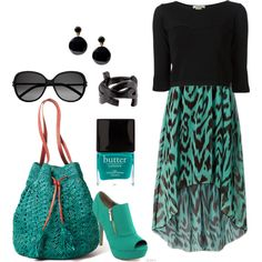 """""""Teal and Black"""" by lmshull on Polyvore"""