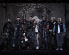 The Squad, aka Task Force X, pose for a class picture at Belle Reve, their maximum-security prison/HQ. The first shot of the main team in costume was tweeted by Ayer on May 3. From left, the team includes Adam Beach (Slipknot), Jai Courtney (Boomerang), Cara Delevingne (Enchantress), Karen Fukuhara (Katana), Joel Kinnaman (Rick Flag), Margot Robbie (Harley Quinn), Will Smith (Deadshot), Adewale Akinnuoye-Agbaje (Killer Croc), and Jay Hernandez (El Diablo).