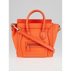 577c4e44130 Pre-owned Celine Orange Smooth Calfskin Leather Nano Luggage Tote Bag  (€1.690) ❤ liked on Polyvore featuring bags, handbags, tote bags, handbags  totes, zip ...