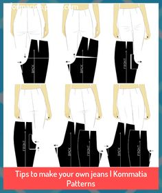 Tips to make your own jeans | Kommatia Patterns #jeans #Kommatia #Patterns #ropa #Tips Dress Sewing Patterns, Sewing Patterns Free, Sewing Tutorials, Clothing Patterns, Sewing Tips, Fashion Sewing, Diy Fashion, Ideias Fashion, Diy Couture