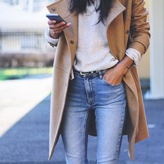 Pepamack; camel coat; high waisted jeans; gray sweatshirt; everyday casual