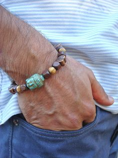 Men's Tibetan Spiritual Bracelet with Carved by tocijewelry, $35.00