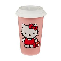 These Hello Kitty Double Wall Travel Mugs are ceramic with silicone lids so not only are they dishwasher and microwave save but the double wall will keep your drinks hot, too!