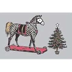 Roger la Borde Victorian Rocking Horse and Christmas Tree Christmas Cards