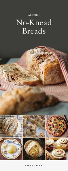No-knead bread recipes seem too good to be true! The classic boule-like recipe may be best known, but the low-fuss bread making doesn't end there; keep reading for 16 wide-ranging variations on this now-classic recipe, including no-knead naan, oatmeal bread, pizza, and brioche buns.