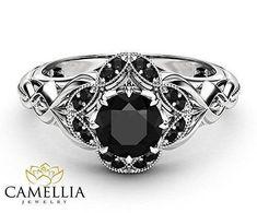 Black Diamond White Gold Gothic Engagement Ring #WhiteGoldJewellery