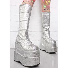 Demonia Glitter Stack Platform Boots (695 HRK) ❤ liked on Polyvore featuring shoes, boots, silver wedge shoes, silver glitter boots, silver platform boots, silver boots and chunky-heel boots