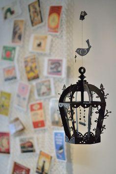 Bird cage Mobile modern artistic home decor room by hiramariya