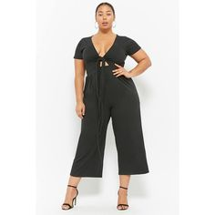 e34b35ac030 Forever21 Plus Size Rebdolls Tie-Front Cutout Jumpsuit ( 38) ❤ liked on  Polyvore