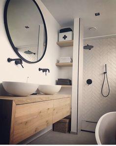 Bathroom Renos, Laundry In Bathroom, Small Bathroom, Bathroom Design Inspiration, Bathroom Interior Design, Bath Design, Apartment Design, Home Deco, Future