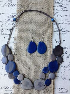 Blue and Gray Tagua Necklace and Dangle Earrings Set, Bib Necklace, Bohemian…
