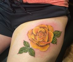 Realistic yellow rose by Julian today @j_love259 #firstplacetattoos #ink #tattoo…