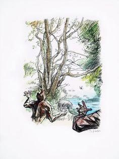 James Rawson. Ambush. Pen and watercolour on paper. Original. £250 #jamesrawson #ambush #winniethepooh #pooh #eor #zombies #drawing #painting #art #brighton #nowallsgallery