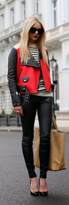 Love the red, white, and black color combo, especially when a leather jacket is involved! (Hello London by Atlantic-Pacific) #outfits #rad
