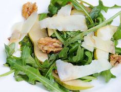 Pear, walnut and parmesan salad with rocket and balsamic vinegar