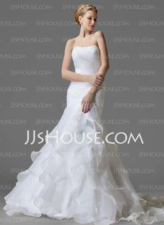 Wedding Dresses - $224.99 - A-Line/Princess Strapless Chapel Train Organza  Satin Wedding Dresses With Ruffle (002004150) http://jjshouse.com/A-Line-Princess-Strapless-Chapel-Train-Organza-Satin-Wedding-Dresses-With-Ruffle-002004150-g4150