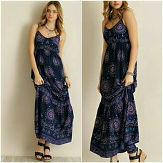 GORGEOUS MEDALLION PRINT MAXI DRESS Medallion print maxi dress featuring ruffled bottom. Adjustable straps.  Fully lined. Non-sheer. Woven. Lightweight. Available in S,M,L PLEASE COMMENT SIZE 100%RAYON PRICE IS FINAL 4 Bidden Boutique Dresses Maxi