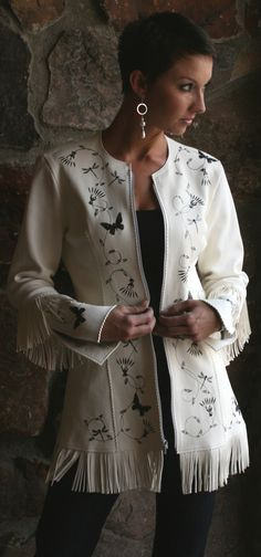 White Buckskin Floral Jacket | Meredith Lockhart Collections