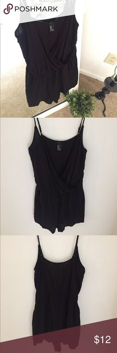 V neck black surpluses-front romper jumpsuit Romper from forever 21 great condition. Lightweight material good from dressing up or down. Button front for a v neck or unbutton for a lower cut, super cute paired with a bralette underneath! Adjustable straps Forever 21 Pants Jumpsuits & Rompers