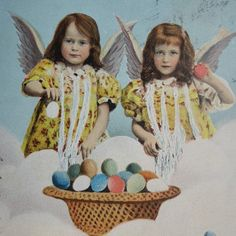 Little Girls With Easter Eggs Angels Vintage Postcard 1904